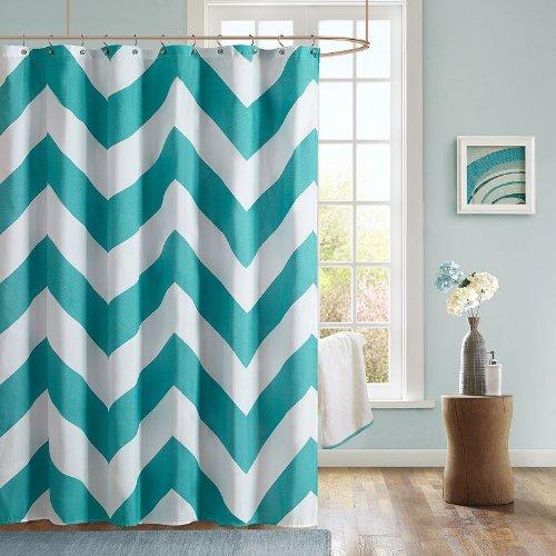 Mi-Zone Liba Modern Shower Curtain, Casual Print Design Shower Curtains for Bathroom, 72 X 72, Teal