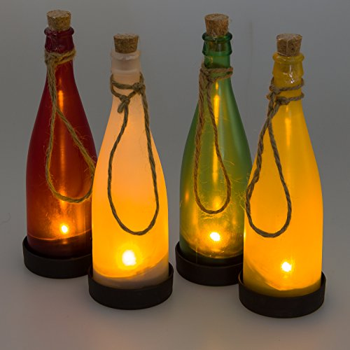 Greenlighting solar led bottle decor light multi colored for Colored bottles for decorations