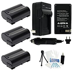 3-Pack EN-EL15 High-Capacity Replacement Batteries with Rapid Travel Charger for Select Nikon Digital Cameras. UltraPro Bundle Includes: Camera Cleaning Kit, Screen Protector, Mini Travel Tripod