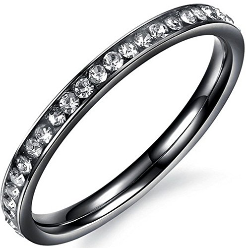 Women 2mm Titanium Stainless Steel Channel Set Cubic Zirconia CZ Inlay Black Wedding Ring Engagement Band Size 7 (Custom Titanium Rings compare prices)