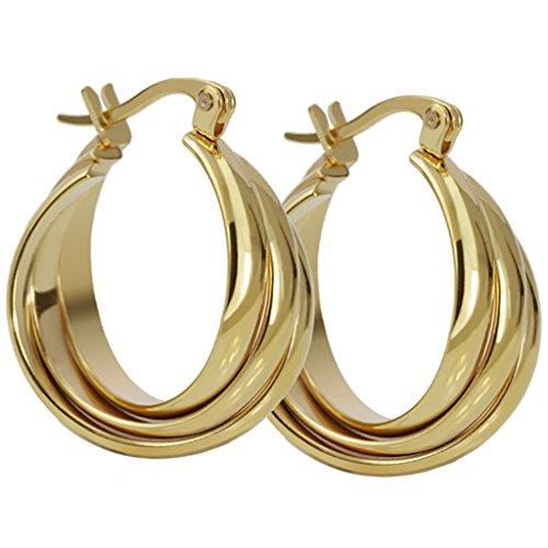 Paar Damen Hoffnung Creolen Ohrringe goldene große Tri-Kreis Polishi Edelstahl 21,5 * 26,8 MM Von AieniD