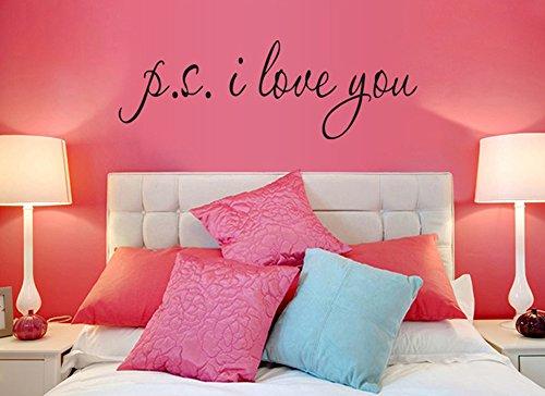 """ufengke® """"P.S. I Love You"""" Citazioni di Amore Romantico e Proverbi Adesivi Murali, Camera da Letto Soggiorno Adesivi da Parete Removibili/Stickers Murali/Decorazione Murale"""