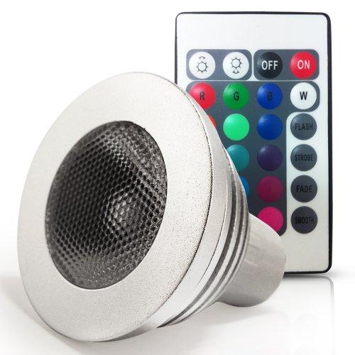110V 3W Rgb Color Changing Gu10 Led Light Bulb - Gu10 Led Spotlight W/ Ir Remote, Bead Surface Lens - Standard Size