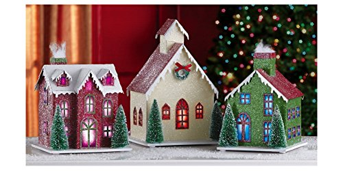 Sale lighted 3pc holiday village indoor christmas for Indoor christmas decorations sale