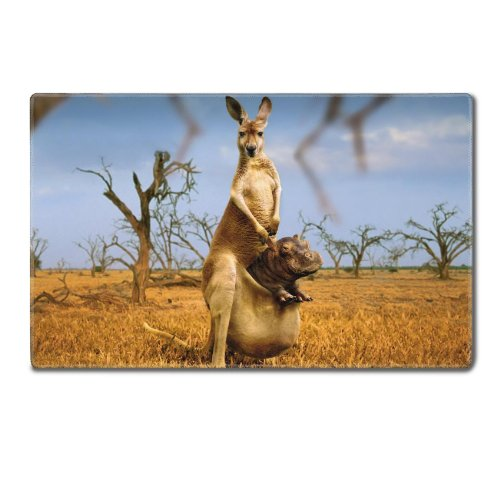 Animal Australia Kangaroo Baby Mammal Nature Table Mats Customized Made To Order Support Ready 24 Inch (610Mm) X 14 15/16 Inch (380Mm) X 1/8 Inch (4Mm) High Quality Eco Friendly Cloth With Neoprene Rubber Liil Deskmat Desktop Mousepad Laptop Mousepads Com front-942021