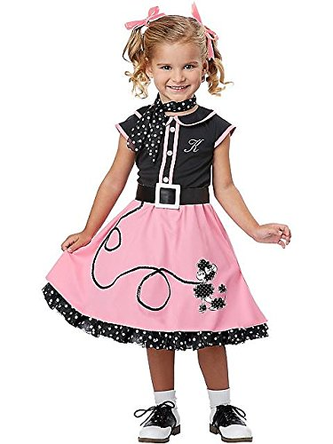 50s Poodle Cutie Kids Costume (Toddler (3T-4T)) (50s Pink Poodle Girls Costume)