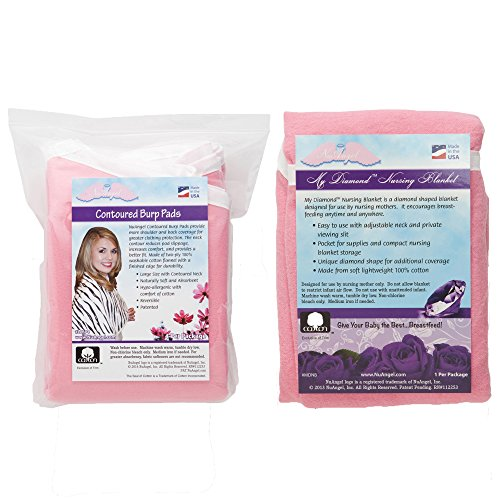 NuAngel Nursing Blanket and Contoured Burp Pad Set, Pink