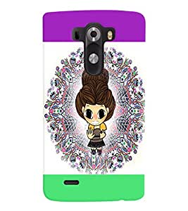 PrintVisa Cute Cartoon Girl 3D Hard Polycarbonate Designer Back Case Cover for LG G3