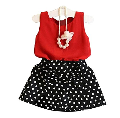 Morecome Girls Vest and Dress Children Skirt Two Pieces (12-18Months, Red)