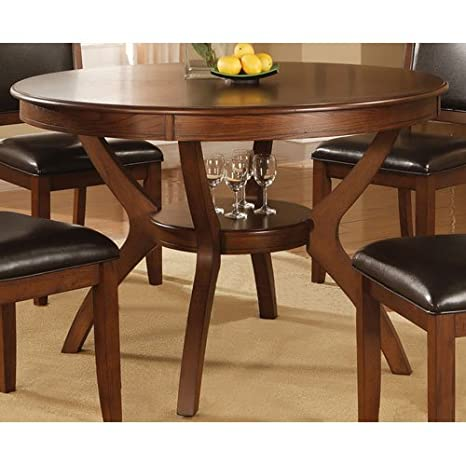 Coaster 102171 Nelms Round Dining Table With Storage Shelf In Walnut