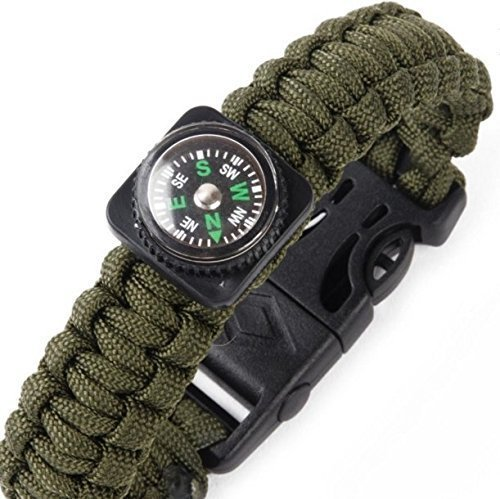 TacPilot Tactical Survival Bracelet | Emergency 550 Paracord Bracelet | Complete With Flint Fire Starter, Whistle, Compass & Scraper/Knife |