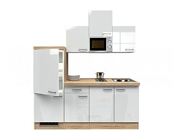 Singlekuche Hochglanz Weiß 210 cm mit Kochmulde und Mikrowelle - Valencia