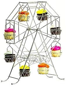 White Metal Ferris Wheel Cupcake Holder