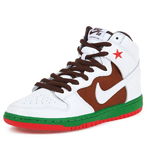 Nike Mens Dunk High Premium Sb Pecan/White Leather Skateboarding-Shoes Size 11