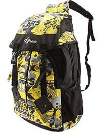 GLEAM Trendy Multicolour School Bag With Hood Pocket ( Yellow & Black )
