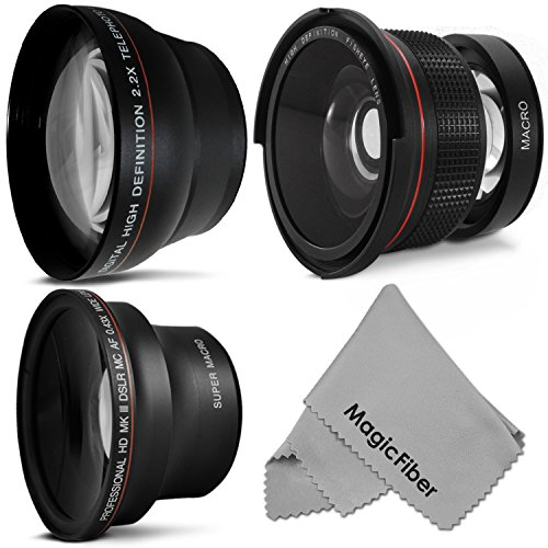 58Mm Altura Photo Professional Lens Kit For Canon Eos Rebel (T5I T4I T3I T2I T1I Xt Xti Xsi Sl1) - Includes: 0.35X Super Wide Fisheye, 0.43X Wide Angle & 2.2X Telephoto Lenses + Magicfiber Microfiber Cleaning Cloth