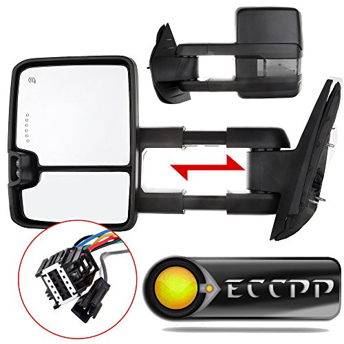 (video review) eccpp� for 07-14 chevy gmc towing door side mirrors power heated  led signal lamps passenger driver left right side tow mirror pair