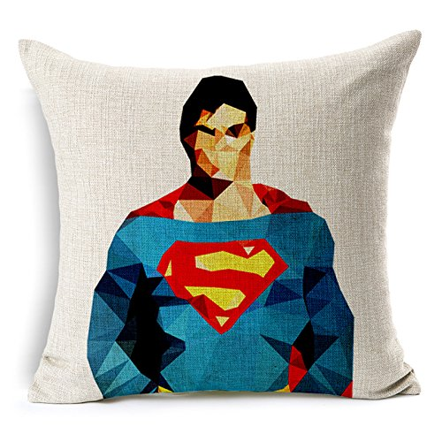 "SilkCrane Cuscino, Geometric Superman Cotton Linen Decorative Throw Pillow Cover, 17.7"" x 17.7"""