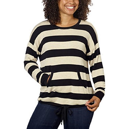kensie-ladies-french-terry-crew-pullover-x-large-grey-with-ivory-stripes