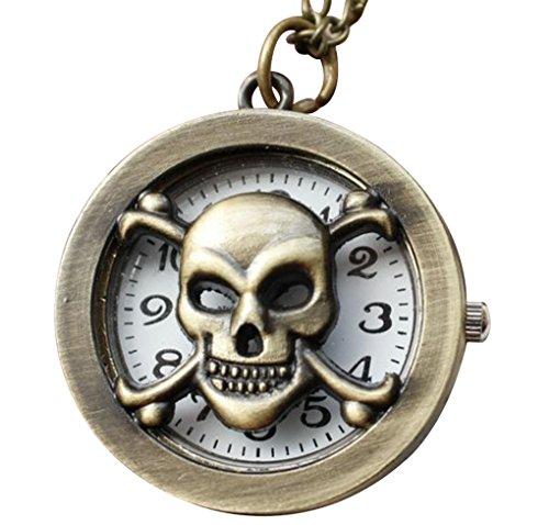 Infinite U Retro Cartoon Cool Skull Small Quartz Pocket Watch Arabic Numerals Bronze front-781854
