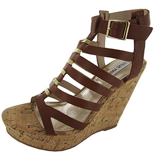 Steve Madden Women'S Indyanna Wedge Sandal,Cognac,6.5 M Us front-893404