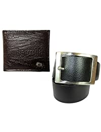 Needs Apki Needs Textured Brown Men's Wallet And Stylish, Rectangular Buckle, Textured, Black Colour Men's Belt...