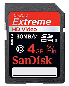 SanDisk Extreme 4 GB SDHC Class 10 UHS-1 Flash Memory Card 30MB/s SDSDX-004G-AFFP