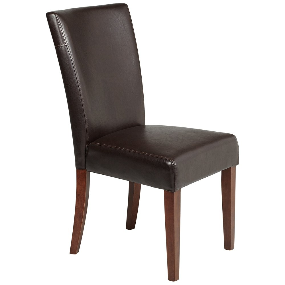 Powell brown bonded leather parsons chair 20 1 2 inch for Leather parsons dining chair