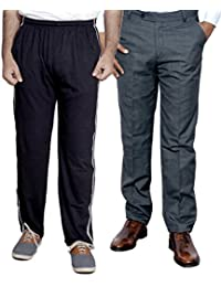 Indistar Mens Formal Trousers With Men's Premium Cotton Lower (Length Size -38) With 1 Zipper Pocket And 1 Open Pocket (Pack Of -1 Lower With 1 Trouser) - B01GEIP4AC