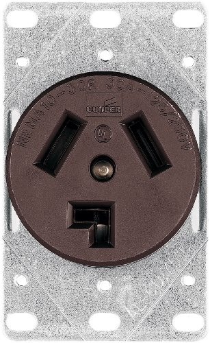 Cooper Wiring Devices 38B-Box 30-Amp Commercial And Industrial Dryer Power Receptacle With Box, Brown front-91421