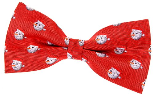 """Retreez Christmas Happy Snowman Woven Pre-Tied Bow Tie (5"""") - Red, Christmas Gift"""