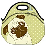 Snoogg I Love Pugs Cute Little Pug On Polka Dot Background Travel Outdoor Carry Lunch Bag Picnic Tote Box Container Zip Out Removable Carry Lunchbox Handle Tote Lunch Bag Food Bag For School Work Office
