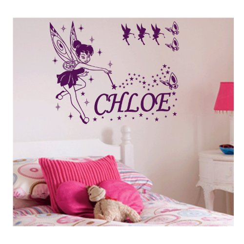 Personalised Fairy Wall Sticker, LARGE, Any Name, Any Colour, Childs Bedroom.