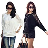 Womens Batwing Dolman Loose Blouse Shirt Lace Tops