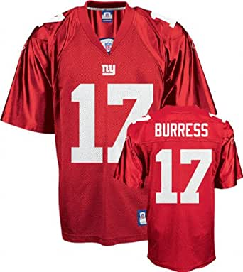 Plaxico Burress Jersey: Reebok Red Replica #17 New York Giants Jersey - Medium