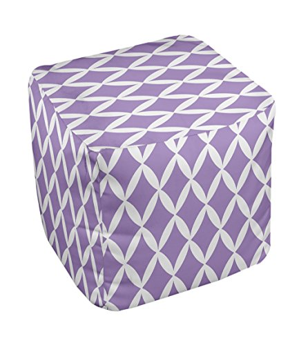 E by design FG-N1-Heather_White-13 Geometric Pouf