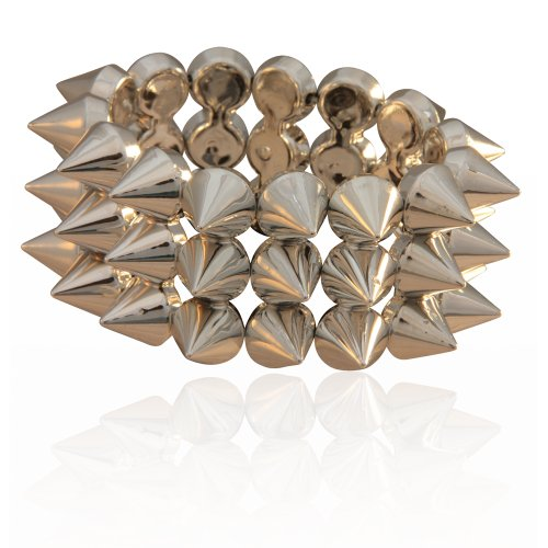 MizEllie Silver Cone Spike Bangle Bracelet