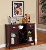 King's Brand WR1241 Wood Wine Rack Console Sideboard Table with Drawers and Storage, Cherry Finish