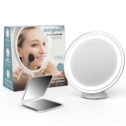 led warm lighted vanity mirrors makeup mirror 7 magnification cordless. Black Bedroom Furniture Sets. Home Design Ideas
