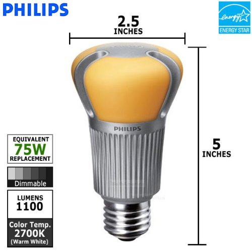 Images for Philips 418590 17-Watt A21 LED Household Light Bulb, Dimmable