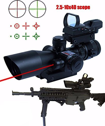 Why Should You Buy Rifle Scope 3 in 1 2.5-10x40 Tactical Red Laser Rail Mount+Tactical 4 Reticle R&G...