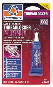 Permatex 24024 Low Strength Threadlocker Purple, 6 ml Tube