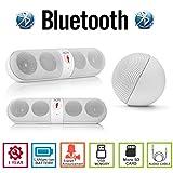 AGM Bluetooth スピーカー ステレオ YOUTUBE視聴可 LINE AUX IN USBメモリー MICRO SD 安心の機能保障1年付 日本語説明書付 BTHSpkF (ホワイト)