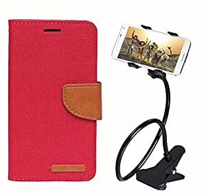 Aart Fancy Wallet Dairy Jeans Flip Case Cover for MeizumM2 (Red) + 360 Rotating Bed Moblie Phone Holder Universal Car Holder Stand Lazy Bed Desktop by Aart store.
