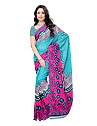 Indian Wear Sky Blue & Pink Renial Denting Georgette Printed Saree