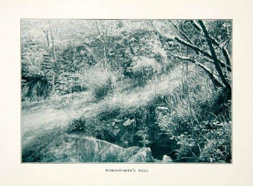 1914 Print William Wordsworth's Well Dove Cottage Grasmere England Rural Estate - Original Halftone Print