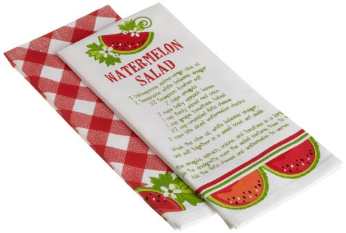 DII Juicy Watermelon Check Print and Watermelon Salad Recipe Dishtowel, Set of 2