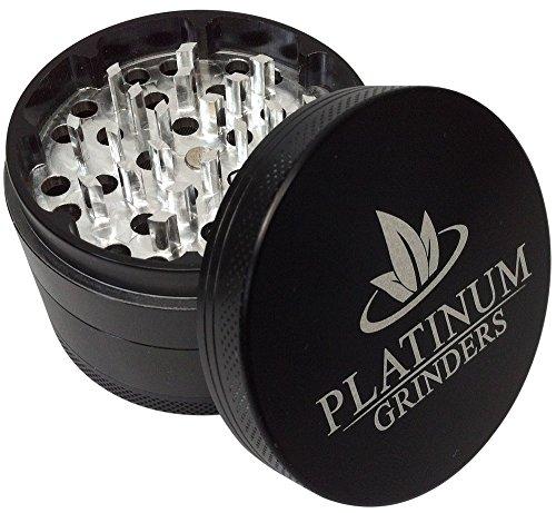 Platinum-Grinders-1-Best-Herb-Grinder-with-Pollen-Catcher-Large-25-Inch-4-Piece-Black-Aluminum