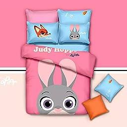USpiece Children 100% Cotton Home Textile, Zootopia Cartoon Bedding Set comforter Sets 4pcs:1pc Bed Sheet+1pc Quilt Cover+ 2 pcs Pillowcase Full