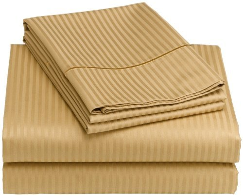 Deluxe Hotel Bedding, Premier Sateen Twin Sheet Set,300 Thread Count-Gold front-103427